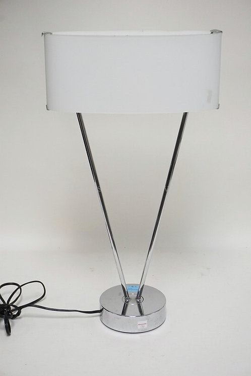 MODERN CHROME LAMP WITH A CASED WHITE SHADE. 23 1/2 INCHES HIGH.