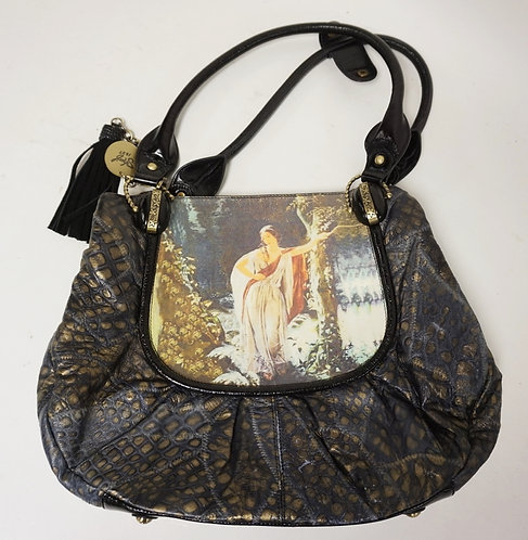 SHARIF LEATHER PURSE FEATURING AN IMAGE OF A WOMAN LEANING AGAINST A TREE.