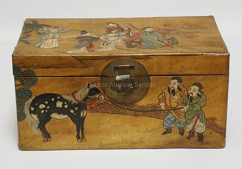ASIAN HAND PAINTED PAPER COVERED BOX WITH BRASS LOCK PLATE. 14 3/4 X 8 AND 6 3/4