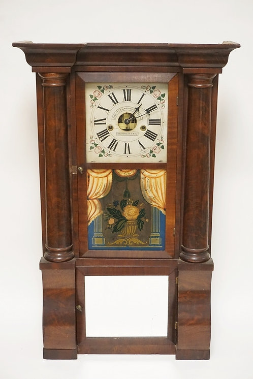 FORESTVILLE MFG CO, BRISTOL CT. EMPIRE WALL CLOCK WITH TURNED HALF COLUMNS AND A