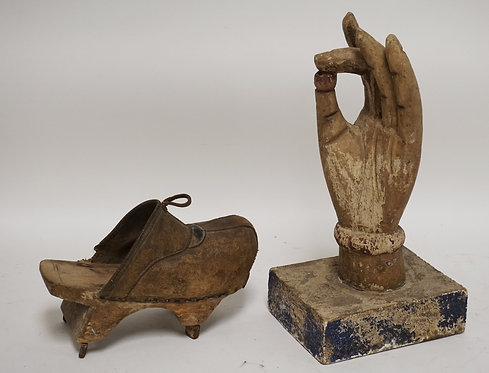2 PIECE LOT. A CARVED WOODEN BUDDHA HAND HOLDING THE WORLD AND A CARVED WOOD AND