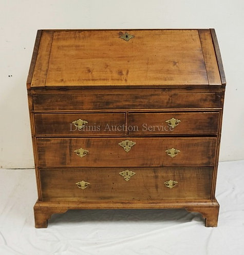 ANTIQUE SLANT FRONT DESK WITH A DOVETAILED CASE, A COMPARTMENTED INTERIOR, AND B