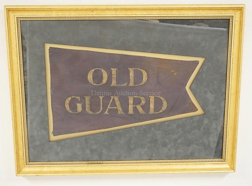 VINTAGE *OLD GUARD* SWALOW TAIL PENNANT/FLAG. 21 3/4 X 13 1/4 INCHES, FRAMED WIT