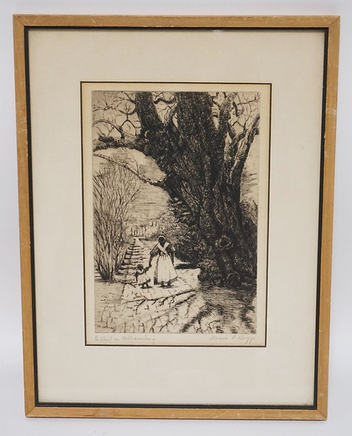 PENCIL SIGNED ETCHING TITLED *A STREET IN WILLIAMSBURG*. BLACK AMERICANA. APPROX