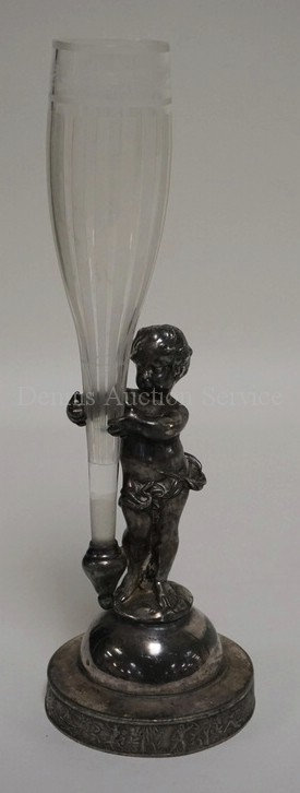ANTIQUE MERIDEN FIGURAL SILVER PLATED BUD VASE HOLDER IN THE FORM OF A PUTI FIGU