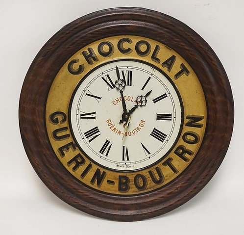 FRENCH ADVERTISING CLOCK FOR CHOCOLAT GUERIN-BOUTRON. TINE WITH A PAINTED FINISH
