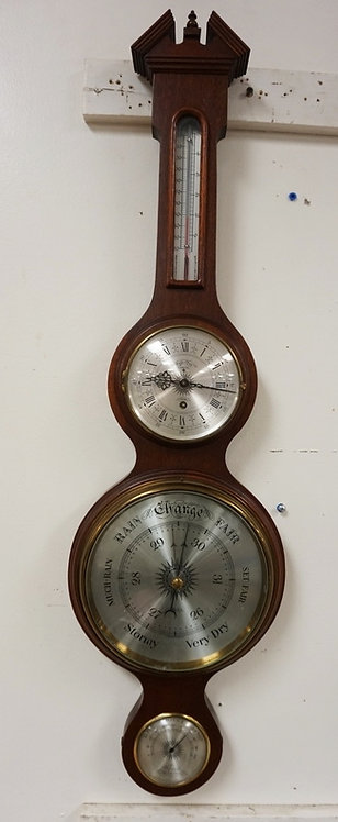1225_MAHOGANY 4 DIAL WEATHERSTATION MEASURING 35 X 9 1/4 INCHES.