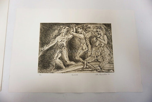 PETER PASSUNTINO PRINT TITLED EPISODE. NO 7 OF 50, DATED 99. IMAGE IS 13 IN X 8