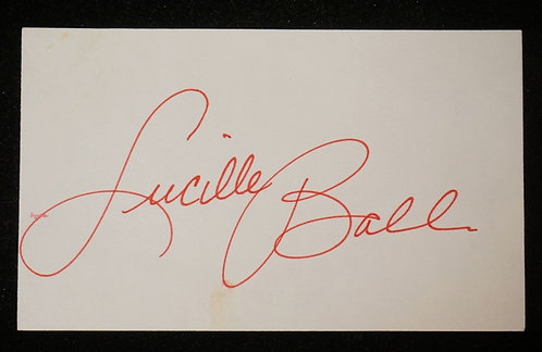 LUCILLE BALL AUTOGRAPH ON A 3X5 CARD.