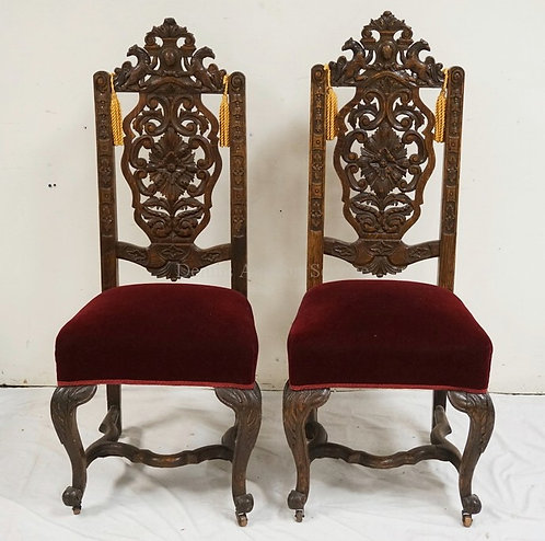 PAIR OF BEUTIFULLY CARVED OAK HIGH BACK CHAIRS. 49 1/4 INCHES HIGH.