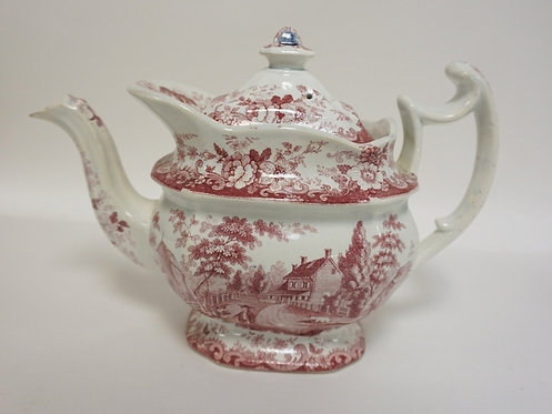 HISTORICAL RED TRANSFER TEA POT. *THE RESIDENCE OF THE LATE RICHARD JORDAN, NEW