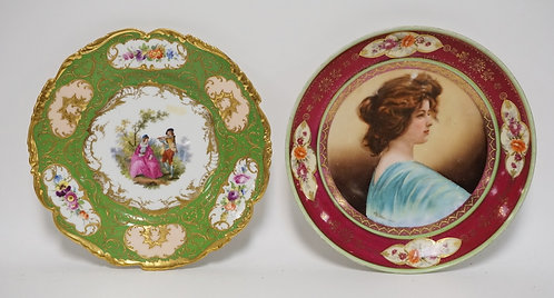 2 PIECES OF DECORATED PORCELAIN. A DRESDEN PLATE AND A SEVRES PORTRAIT PLATE. EA