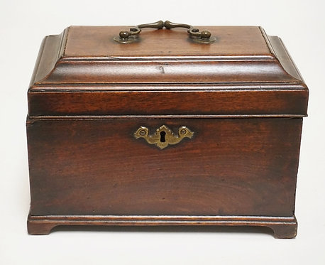 ANTIQUE ENGLISH WALNUT TEA CADDY WITH 3 COMPARTMENTS. HAS SOME TRIM REPAIR AND V
