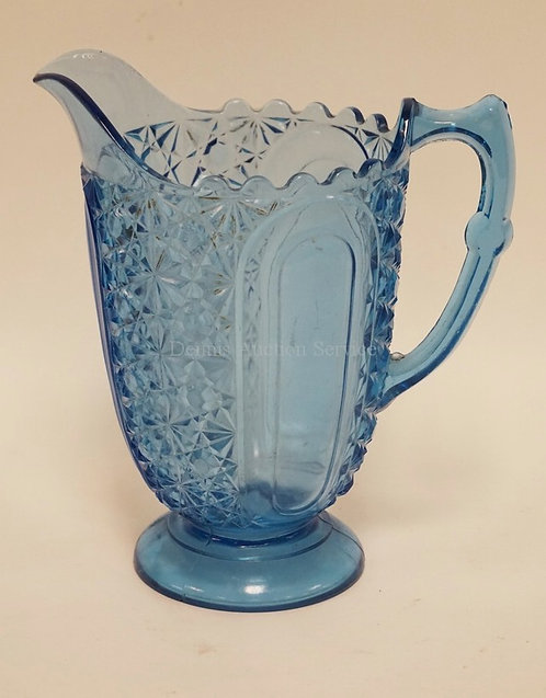 EAPG BLUE PITCHER. COOPERATIVE FLINT GLASS CO *PEARL* BLUE PITCHER. AKA DAISY &