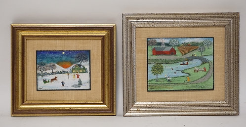 LOT OF 2 JOHN SHAW FOLK ART ENAMEL ON COPPER PAINTINGS. LARGEST IS 5 X 4 INCHES.