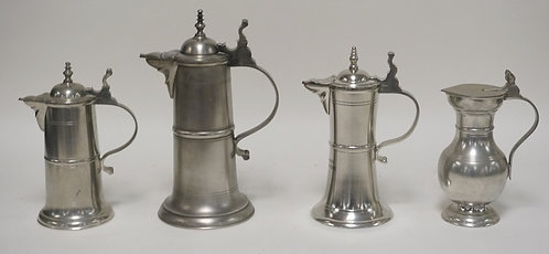 LOT OF 4 PEWTER TANKARDS. TALLEST IS 11 1/2 INCHES.