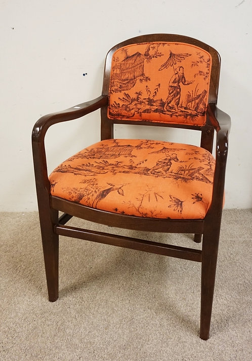 ARMCHAIR BY CENTURY FURNITURE. UPHOLSTERY WITH N ASIAN MOTIF.