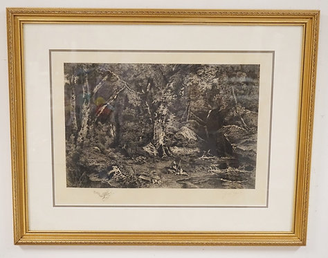 RENE PAUL HUET PENCIL SIGNED ETCHING OF A WOODLAND SCENE DEPICTING A MAN WITH A
