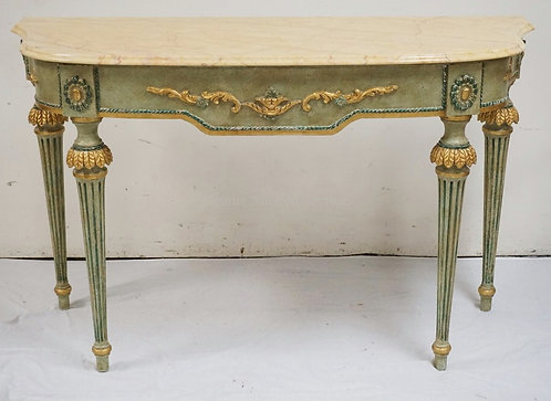 CARVED AND PAINT DECORATED CONSOLE TABLE WITH A MARBLE TOP. 56 INCHES WIDE. 34 1