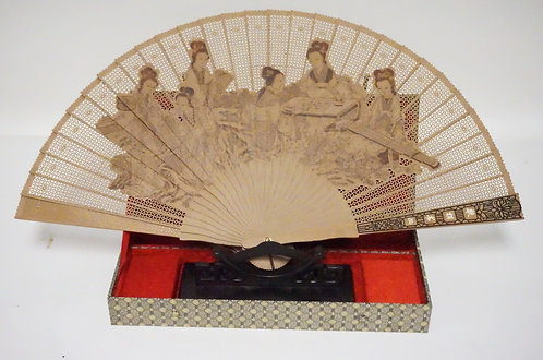ASIAN FOLDING FAN WITH FITTED BOX WITH CARVED WOODEN STAND. 23 1/2 INCHES WIDE.