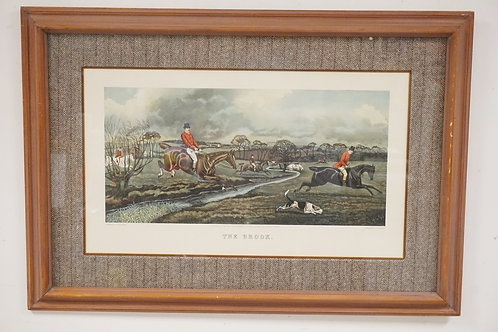 HUNT SCENE PRINT TITLED *THE BROOK*. ENGRAVED BY C.R. STOCK AFTER A PAINTING BY