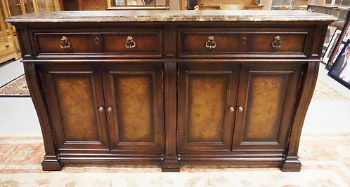 STANLEY MARBLE TOP SIDEBOARD WITH BURL PANELED DOORS AND 2 DRAWERS. 80 1/2 INCHE