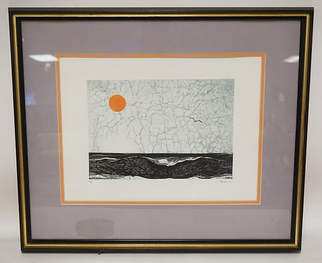 WOODBLOCK PRINT OF THE OCEAN WITH THE SUN AND A SEAGULL IN THE SKY. ARTIST PROOF