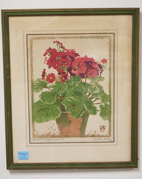 PENCIL SIGNED PRINT. A STILL LIFE OF POTTED FLOWERS. 10 X 13 INCH SIGHT SIZE.