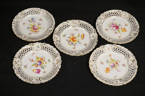 LOT OF 5 SAXONIA PORCELAIN OPENWORK PLATES. 7 1/8 INCH DIA.