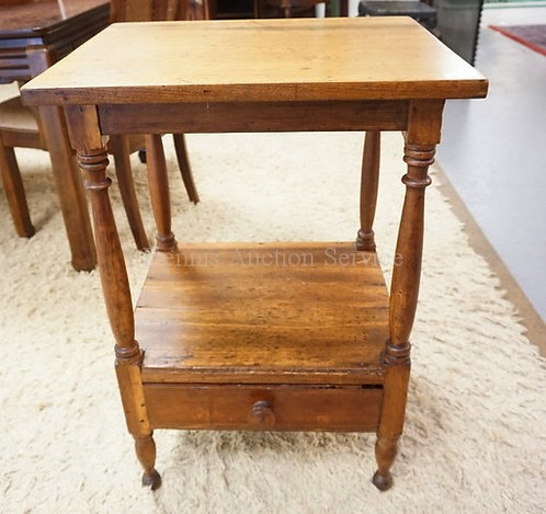 ANTIQUE WORK TABLE WITH TURNED LEGS AND DRAWER ON THE LOWER TIER. 22 IN X 18 1N,