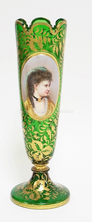 MOSER EMERALD GREEN VASE WITH PORTRAIT MEDALLION AND GOLD FOLIATE DECORATION. RI