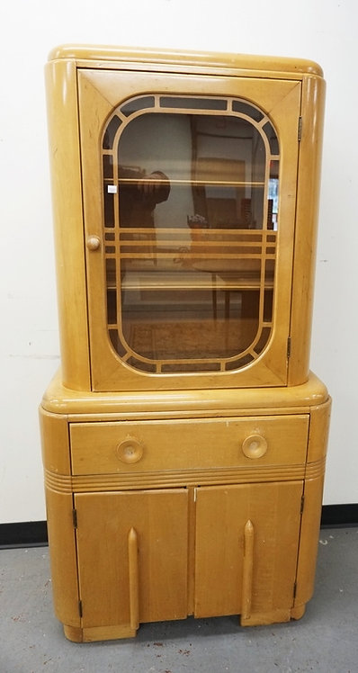 DECO STYLED MAPLE CHINA CABINET.