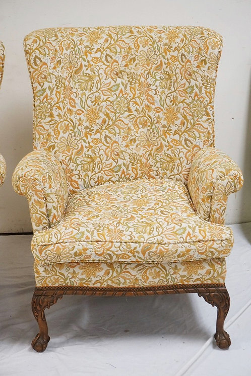 PARLOR CHAIR WITH FLORAL UPHOLSTERY AND CARVED LEGS