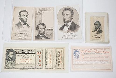 6 PIECES OF ABRAHAM LINCOLN MEMORABILIA. INCLUDES 3 ADVERTISING PIECES (HALLOCK