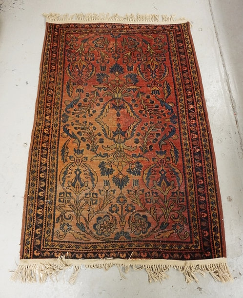 ANTIAUE HAND WOVEN ORIENTAL RUG MEASURING 4 FT 7 INCHES X 3 FT 3 INCHES.