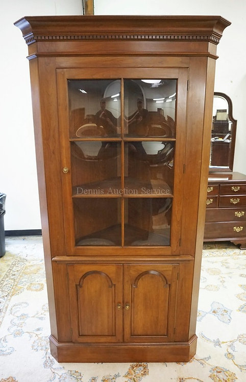 CHERRY ONE PIECE PENNSYLVANIA HOUSE CORNER CUPBOARD WITH BUBBLE GLASS PANES. 78