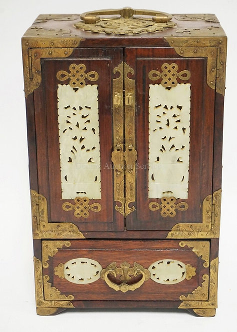 ASIAN HARDWOOD JEWELRY BOX WITH INSET CARVED STONE PANELS. 12 1/2 INCHES WIDE. 8