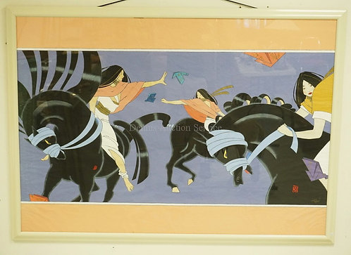 *RAFAEL ACEVEDO* ORIGINAL ACRYLIC PAINTING OF ASIAN WOMEN ON BLACK HORSES. 49 3/