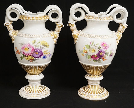 PAIR OF MEISSEN BOLTED URNS WITH SNAKE HANDLES. HAND PAINTED WITH FLOWERS. 15 1/