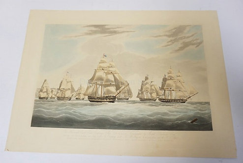 W J HUGGINS SAILING SHIP PRINT. SHIPS OF THE HONOURABLE EAST INDIA TRADING CO. 2