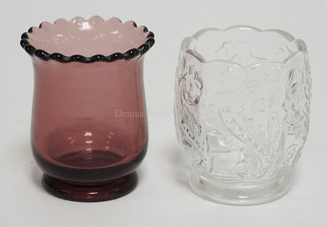 EAPG 2 TOOTHPICK HOLDERS. CLEAR CHRYSANTHEMUM LEAF AND AN AMETHYST WITH SCALLOPE