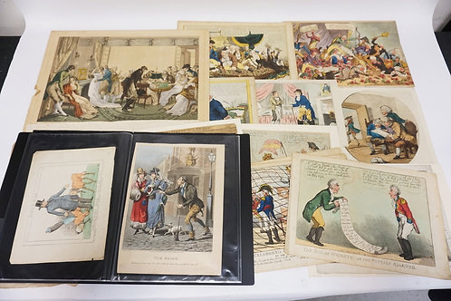 LARGE LOT OF 36 ANTIQUE BRITISH ETCHINGS INCLUDING CARICATURES.
