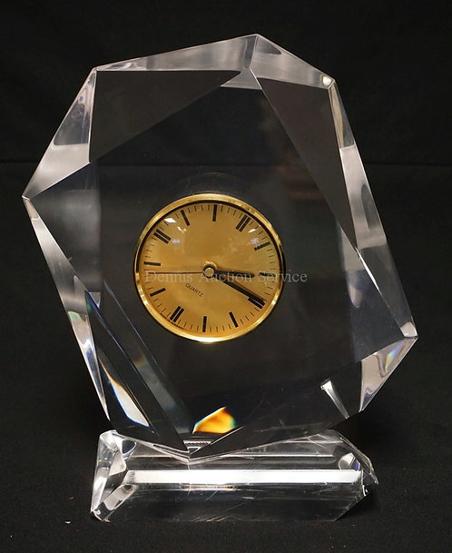 LUCITE CLOCK WITH A GERMAN MOVEMENT. 13 INCHES HIGH.