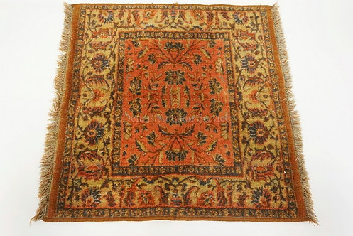 SMALL SQUARE ORIENTAL RUG MEASURING 26 X 26 INCHES.