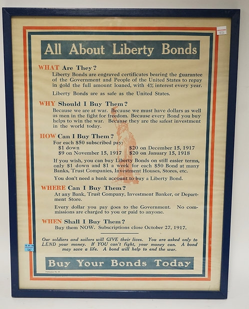VINTAGE LIBERTY BONDS POSTER. 19 X 25 INCHES.