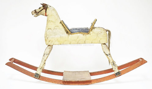 HAND MADE WOODEN ROCKING HORSE. 43 1/2 IN LONG, 24 IN H