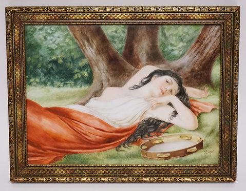 KPM PAINTING ON PORCELAIN OF A PARTIALLY NUDE WOMAN LAYING IN THE GRASS NEXT TO