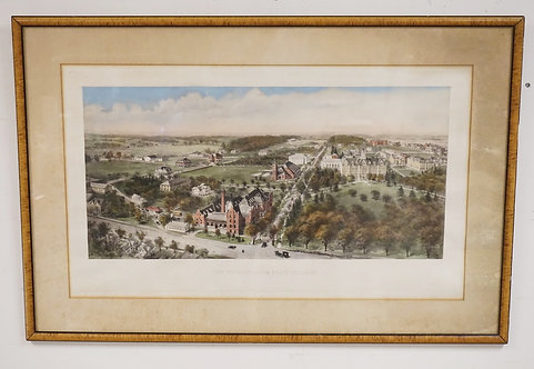 VINTAGE PRINT OF *THE PENNSYLVANIA STATE COLLEGE*. 37 3/4 X 25 INCH FRAME.