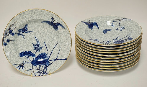 SET OF 12 ANTIQUE ROYAL WORCESTER HAND PAINTED BOWLS, EACH WITH A VARYING DECORA