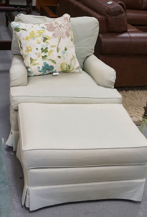 FREDERICK EDWARD LIGHT GREEN LOUNGE CHAIR & OTTOMAN. 31 1/2 INCHES WIDE.
